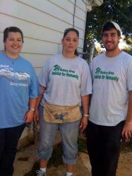 L to R: Megan Boccardi, of Quincy University, Jennifer Nichols, a HfH Homeowner, and Brian Silverstein, HfH volunteer.